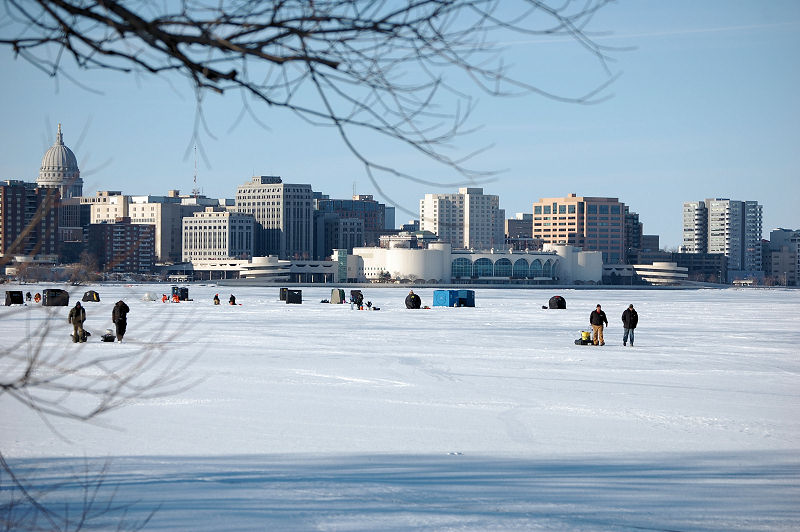 Ice Fisherman on Lake Monona