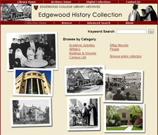 screen shot, Edgewood History Collection home page