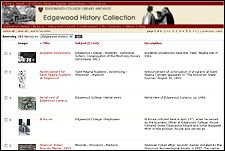 screen shot, Edgewood History Collection browse page