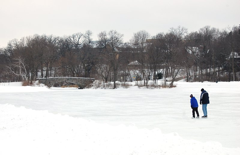 Ice skaters on the lagoon