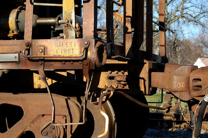 railroad car with stencil: safety first