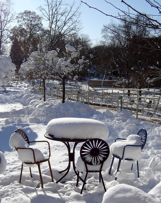 patio table and chairs covered with snow