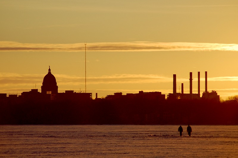 silhouette of Madison skyline at sunset
