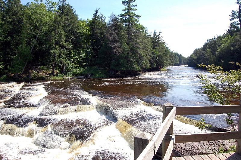 waterfalls and the Presque Isle River