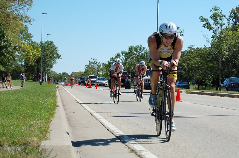 Bikers in the Ironman race