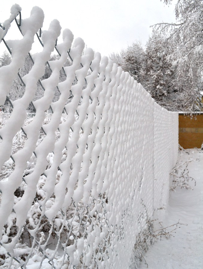 snow covered chain link fence
