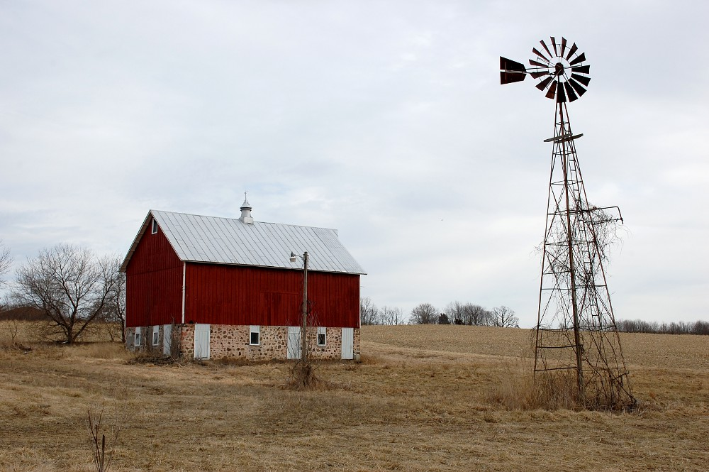 red barn and windmill