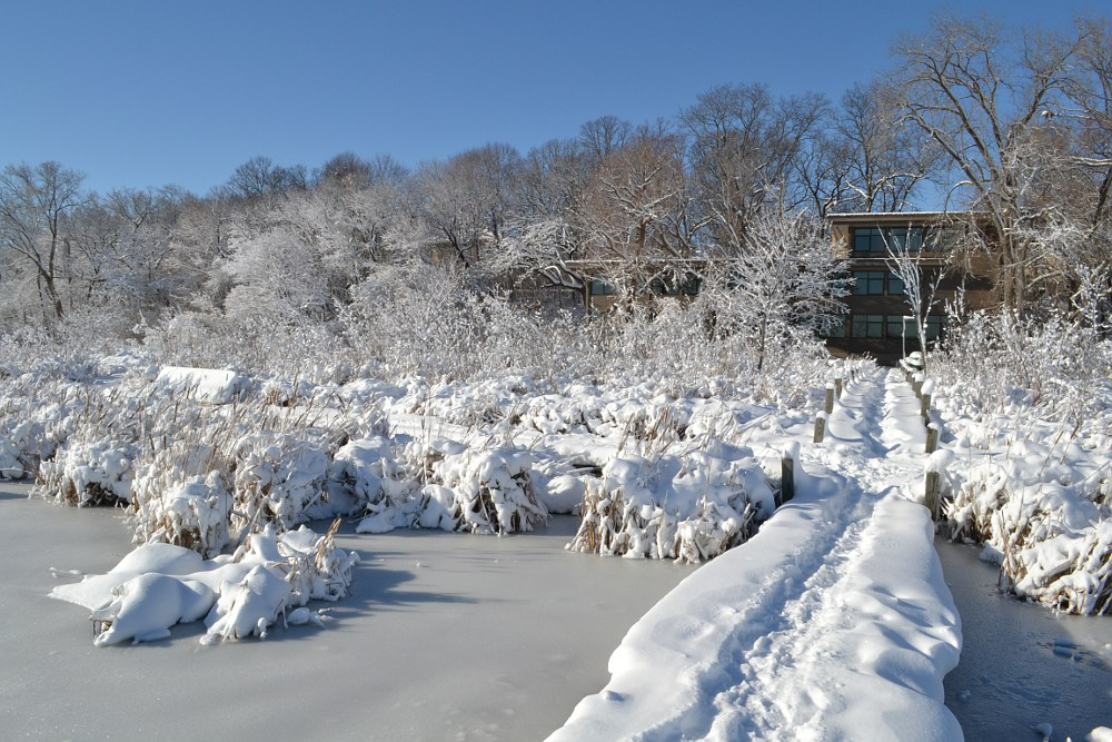 Edgewood Boardwalk and Mazzuchelli Hall after a blizzard