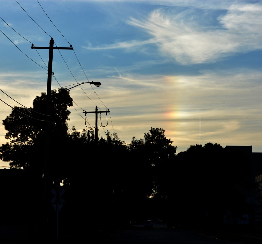 sun dog in the sky at sunset