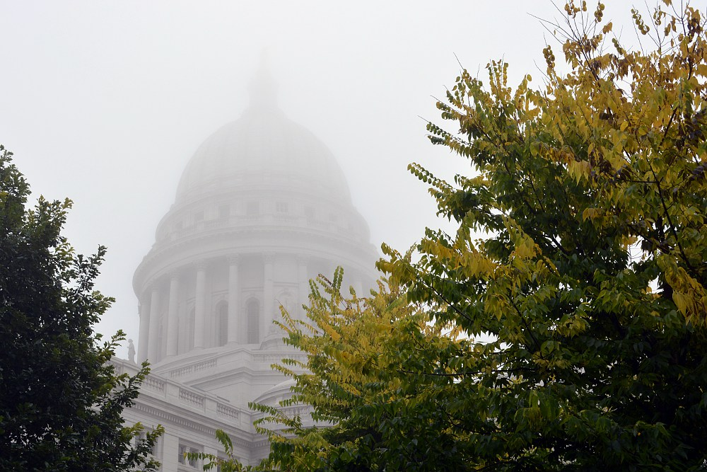 Yellow birch leaves next to a foggy capitol dome