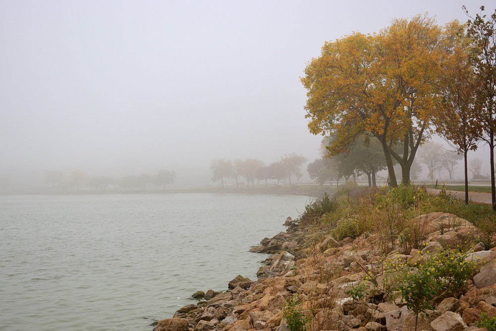 John Nolan Drive causeway along Lake Monona in autumn
