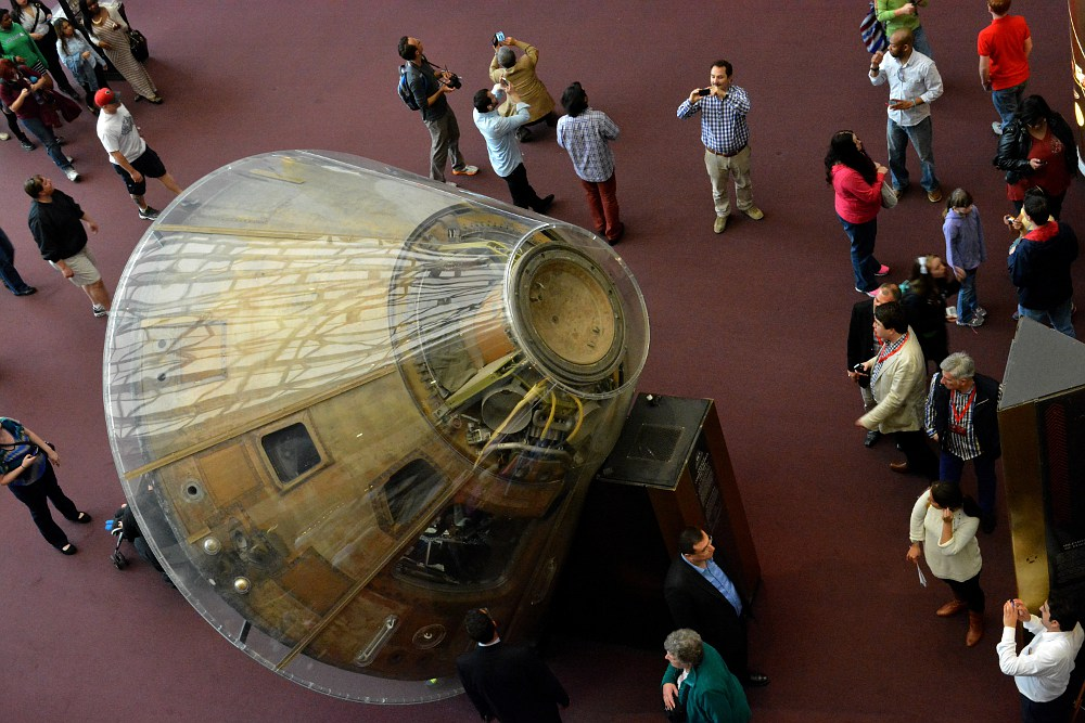 Apollo 11 command module in display at the Smithsonian