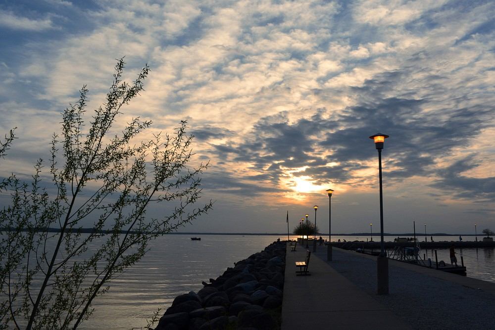 early evening sky over Lake Mendota Pier
