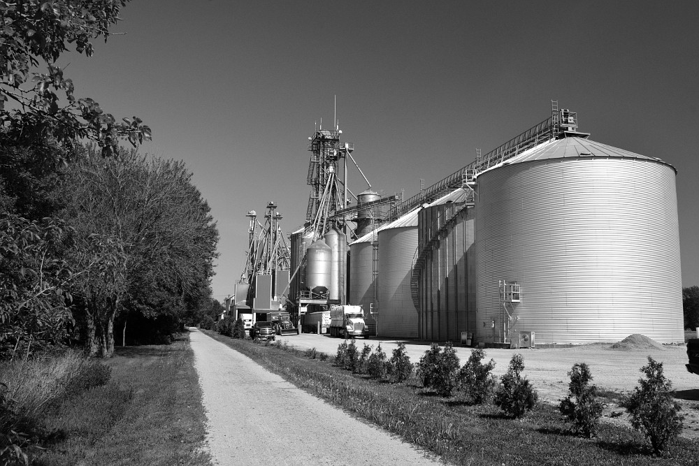 Grain processing plant along side recreational trail