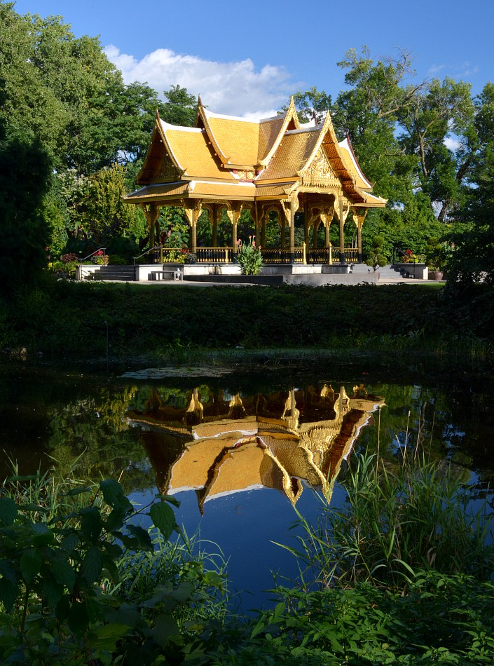 Thai Pavilion and reflection in the Starkweather Creek