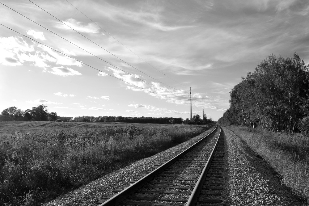 Railroad tracks heading north into the countryside