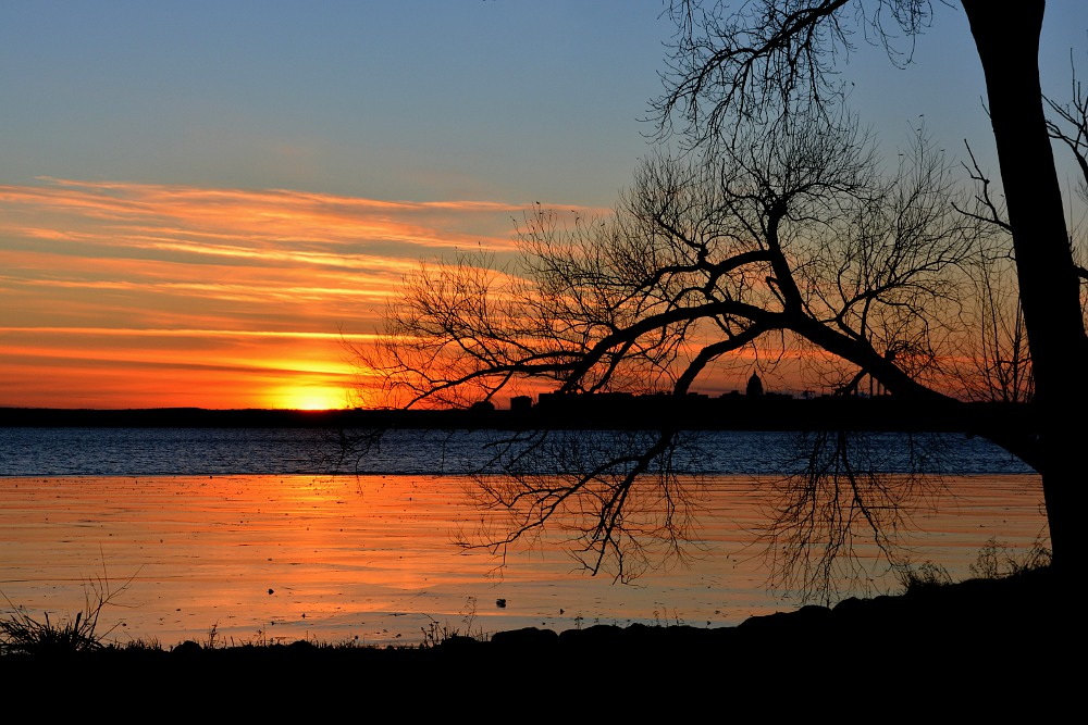 sunset over Lake Monona