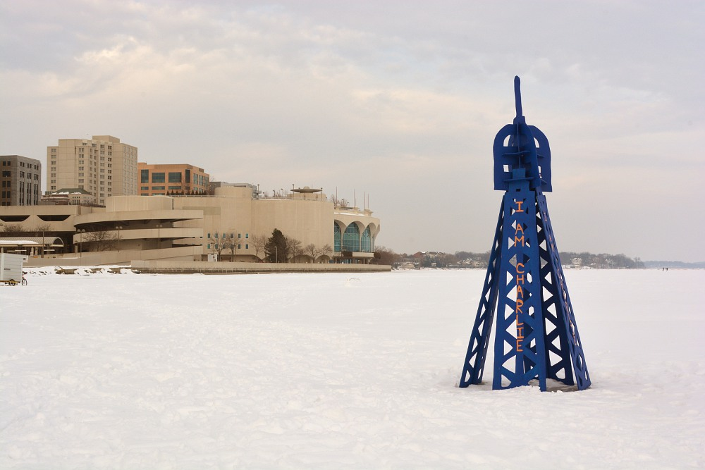 Eiffel Tower with 'I Am Charlie' on frozen Lake Monona