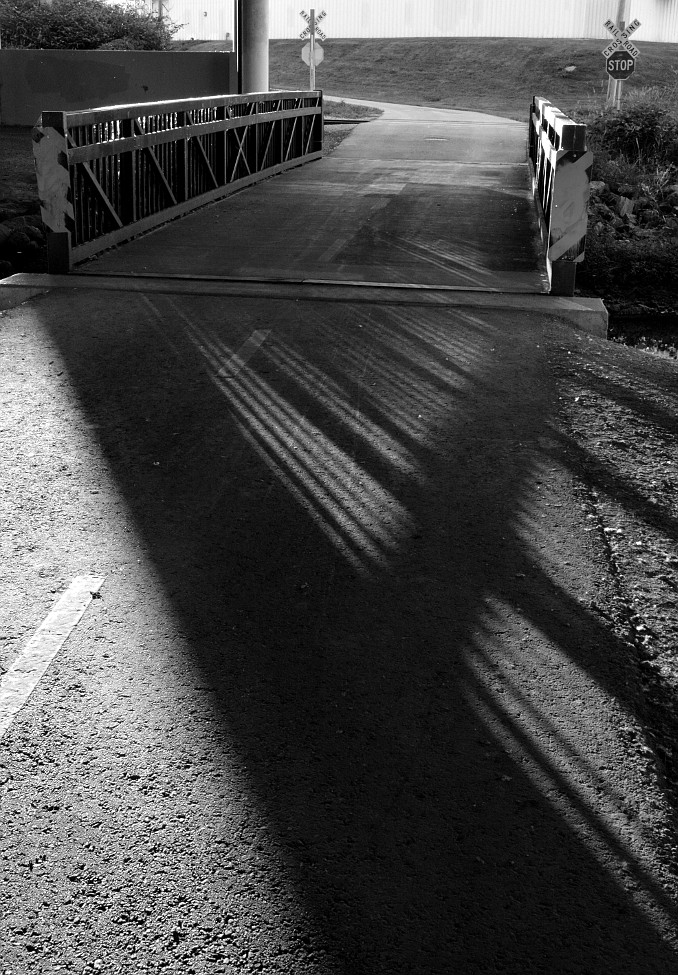 Sunlight & shadows through a bicycle bridge