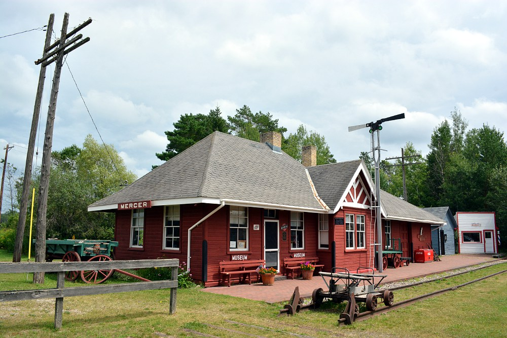 Chicago & North Western railroad depot at Mercer, Wisconsin