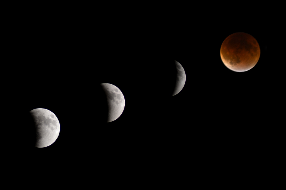 Lunar eclipse shown in four stages