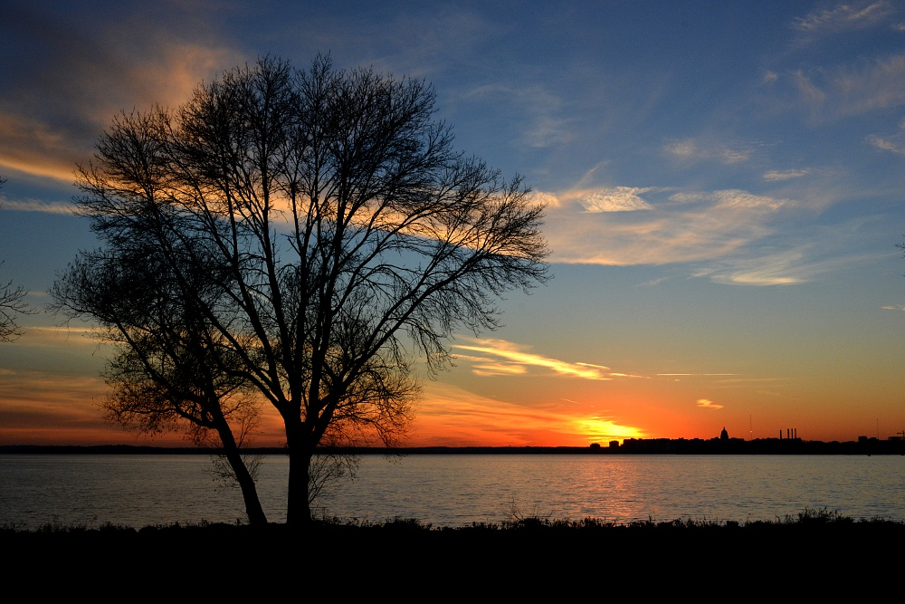 Sunset along the shore of Lake Monona