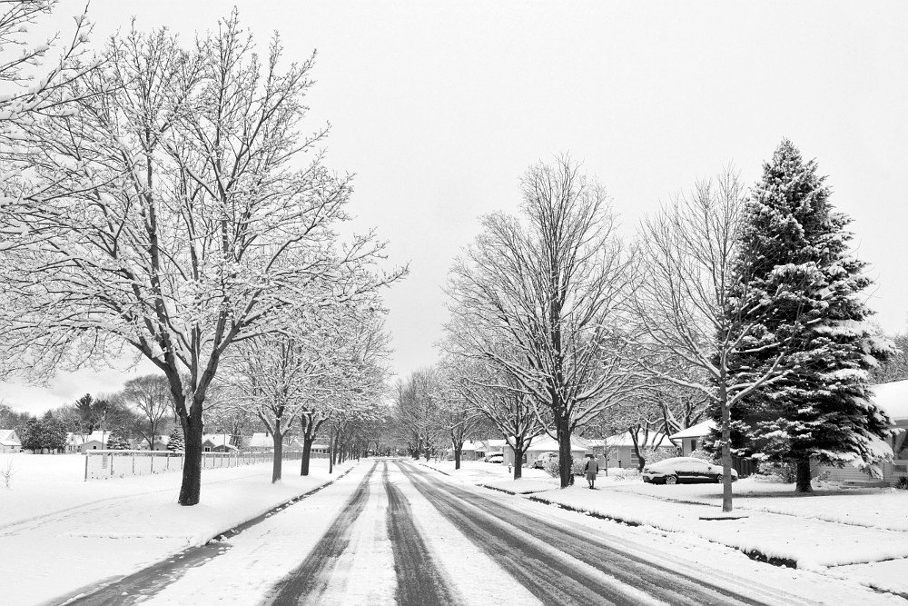 Madison Wisconsin street after the first snowfall