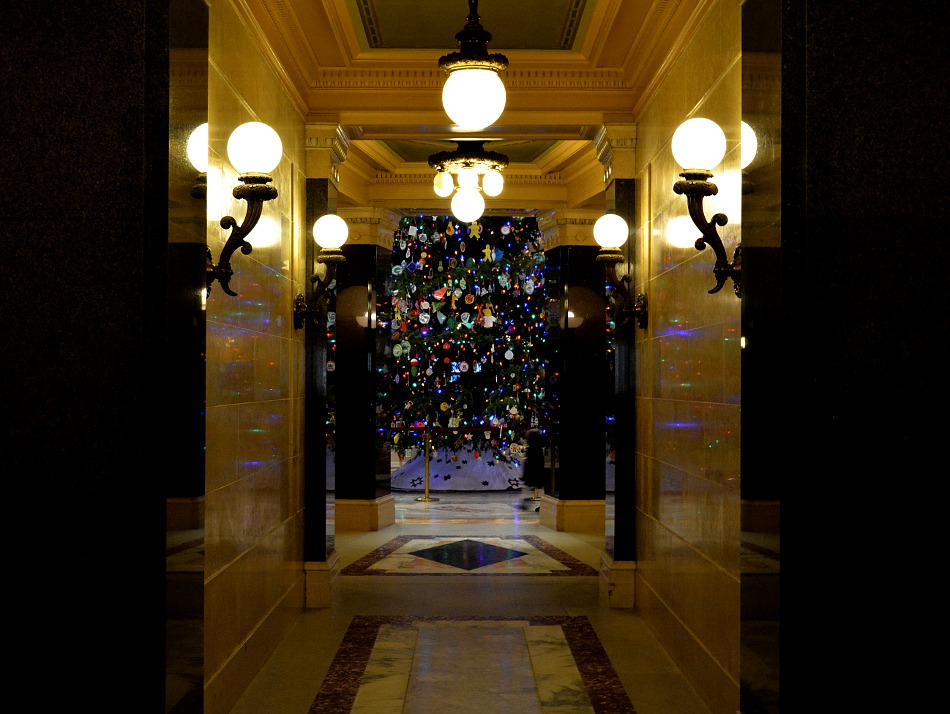 Illuminated hallway in the Wisconsin Capitol