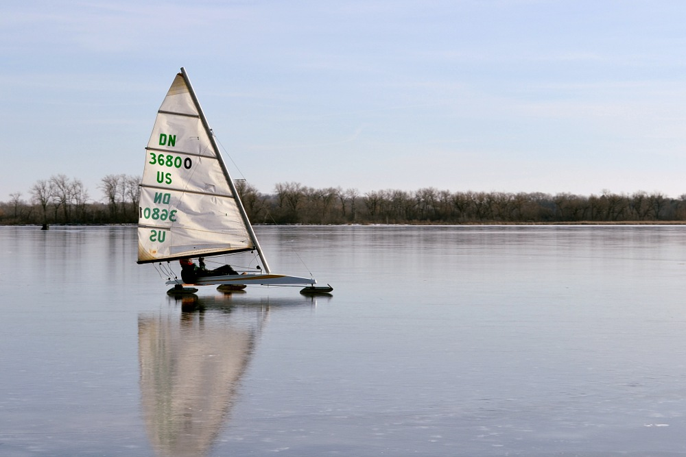 Ice boat on Lake Wingra