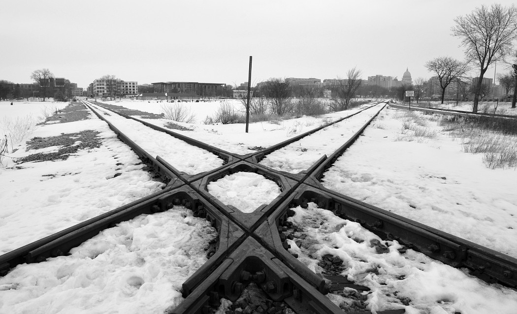 Railroad track crossing in Monona Bay