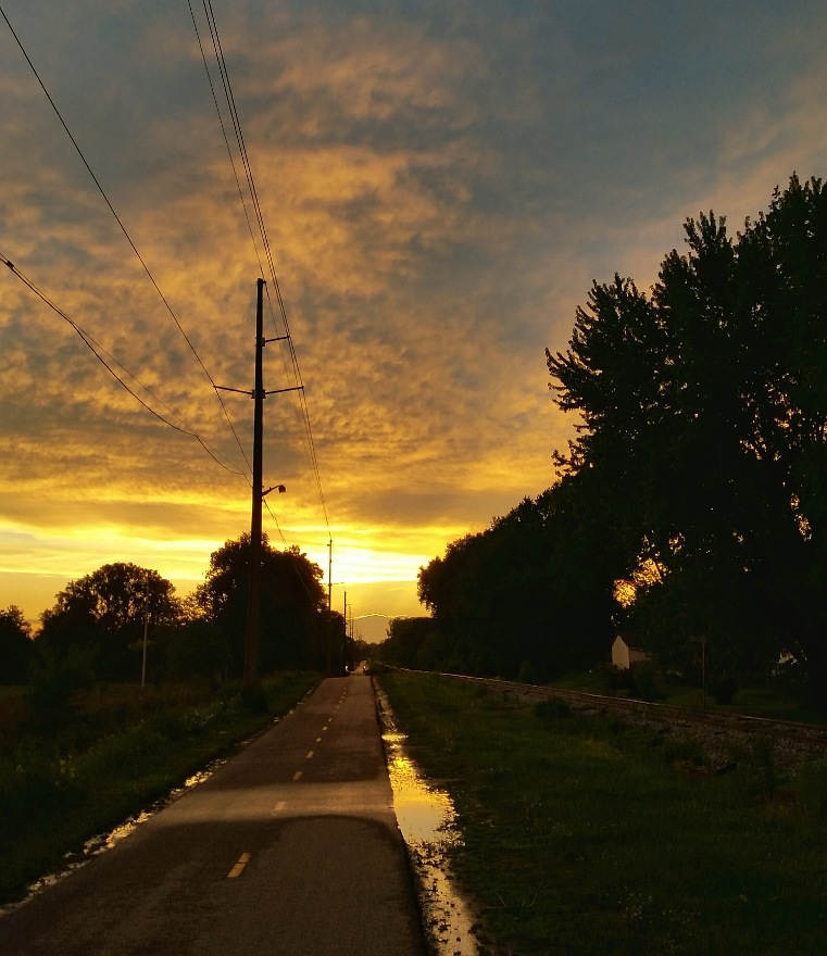 Sunset seen from a bike trail