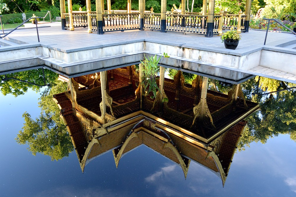 Reflection of Thai Pavilion in a pond