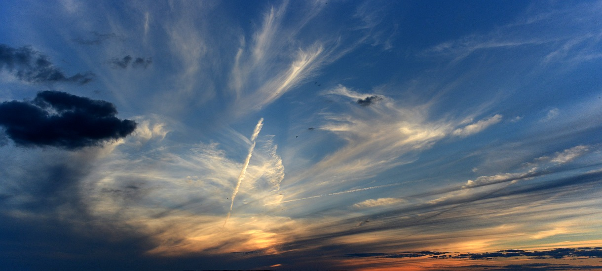 Various cloud types in the sky as the sun sets