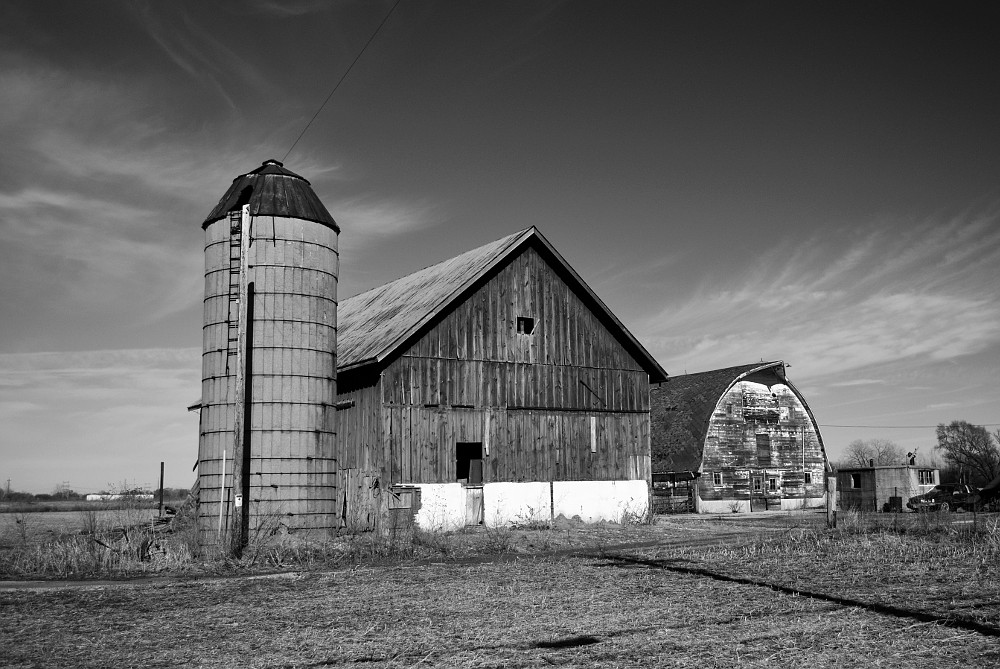 Silo and two barns