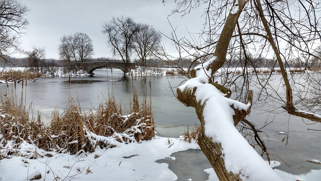 Snowy scene on Lake Wingra