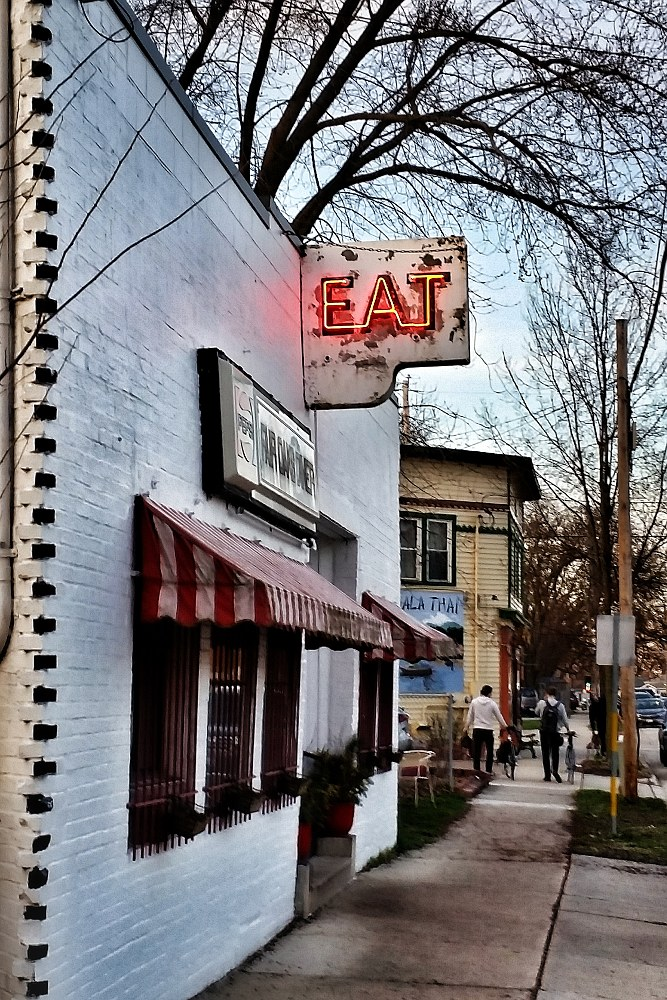 Diner with a neon 'Eat' sign