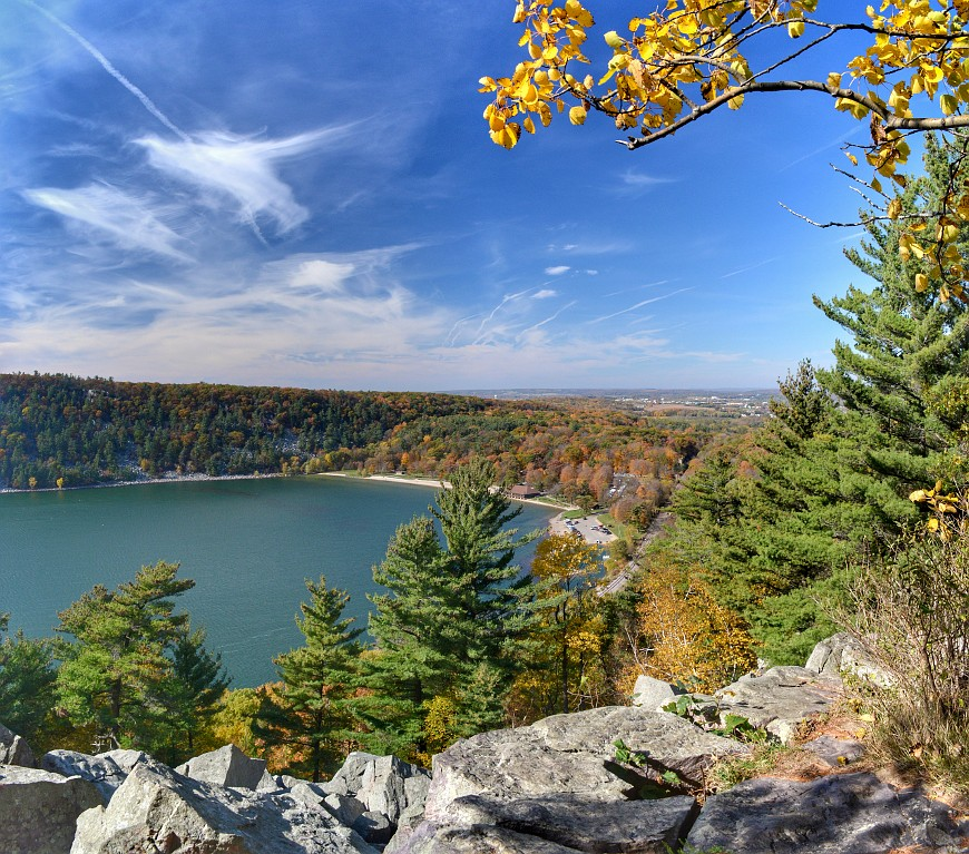 Autumn view of Devil's Lake from the east bluff