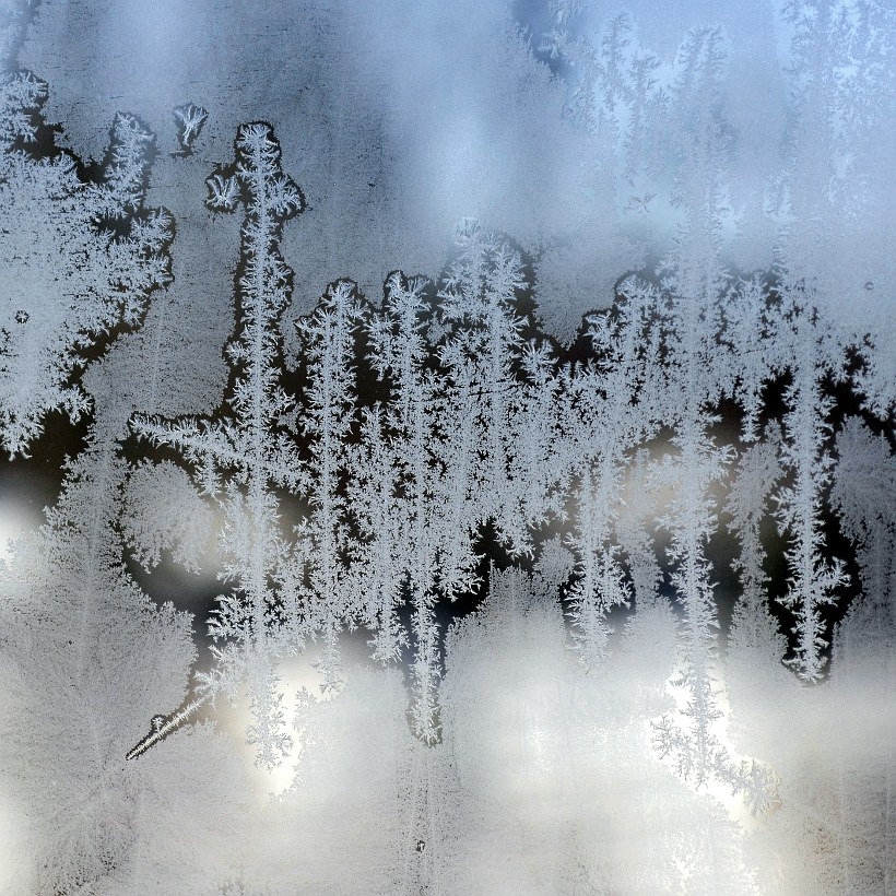 frost on a storm window
