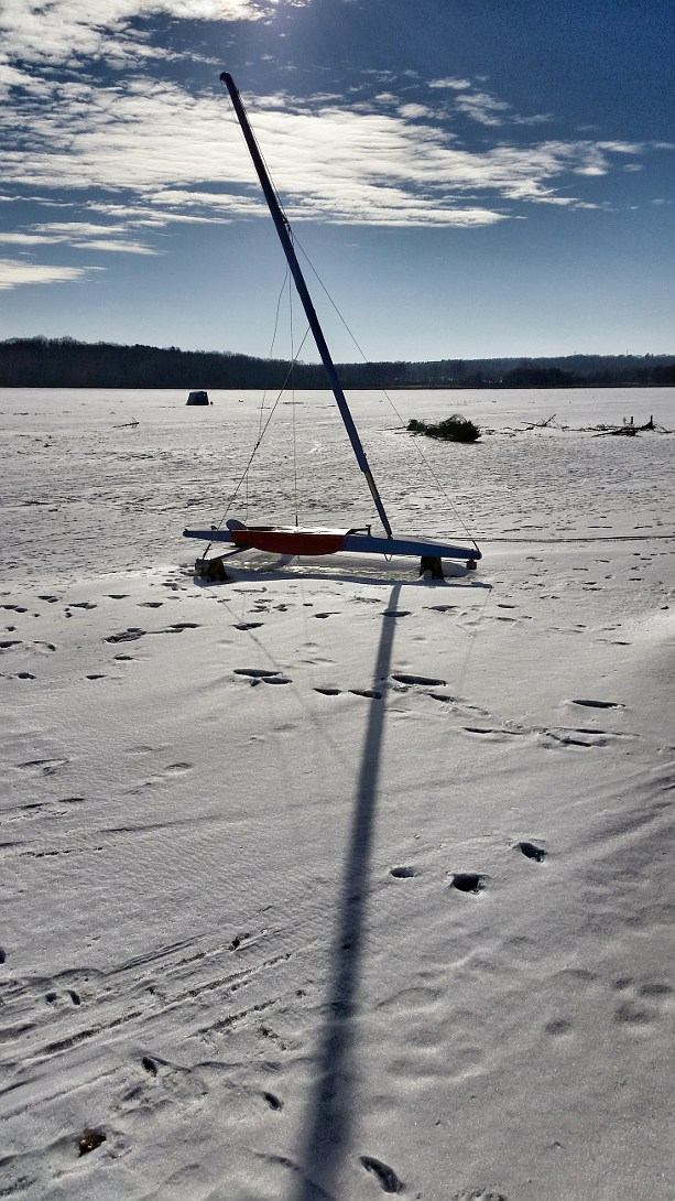 Ice boat on a lake