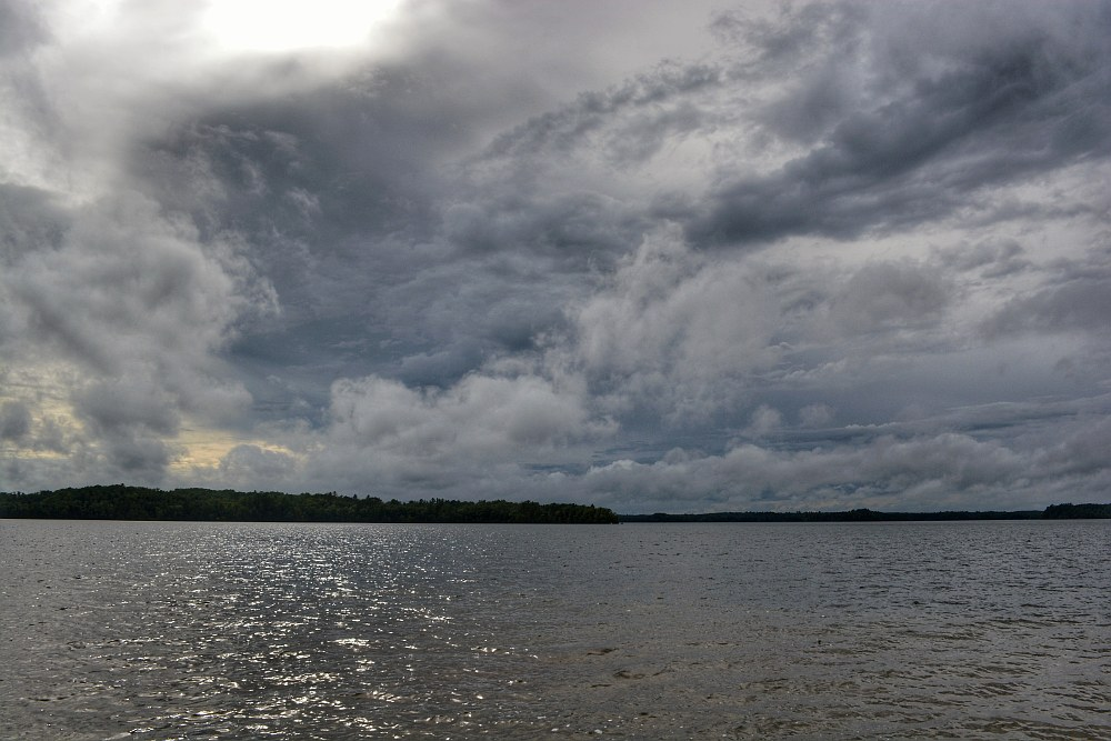 Storm clouds over a lake