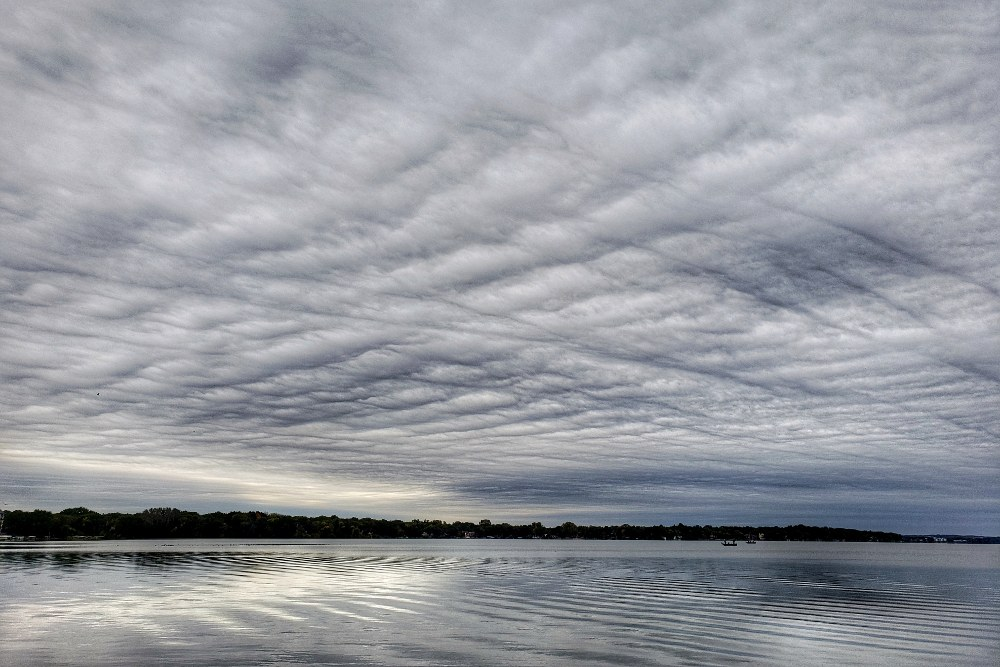 Textured cloudy sky over a lake