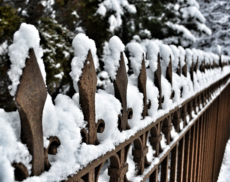 Decorative wrought iron fence with snow on top surfaces