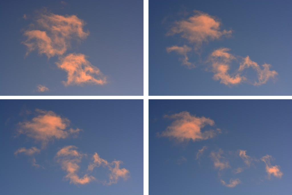 four images of cirrus cloud movement