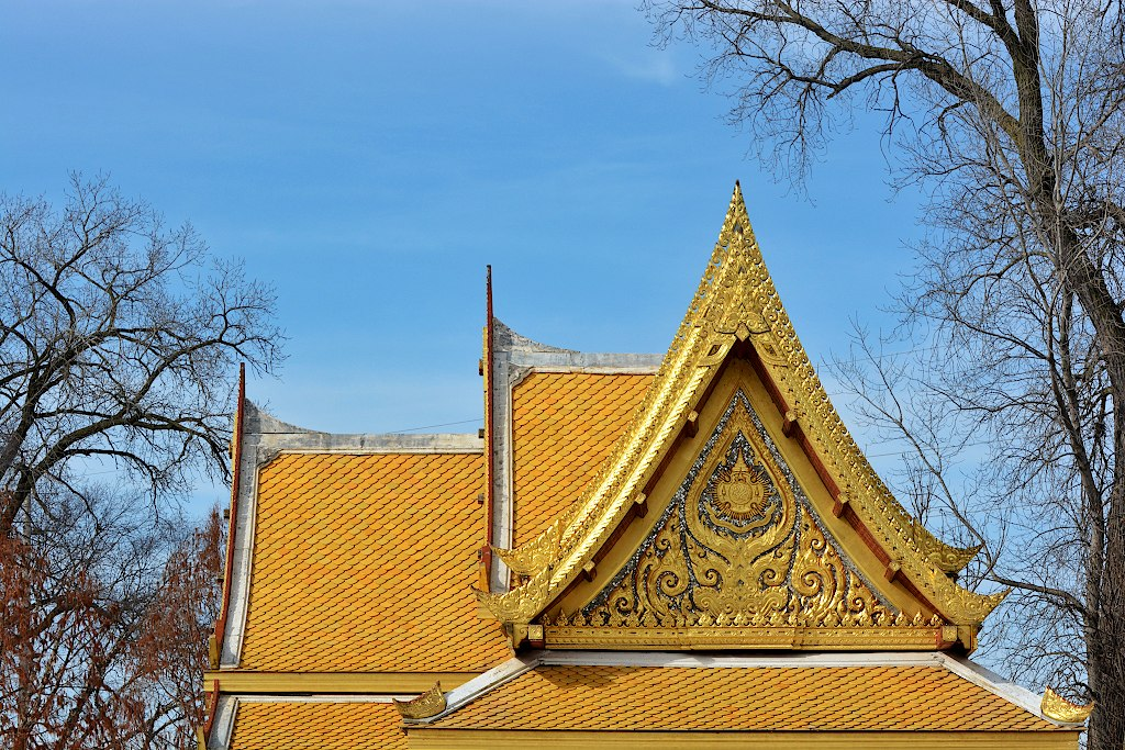 Ornate gold roof in front of a blue sky and a few bare trees