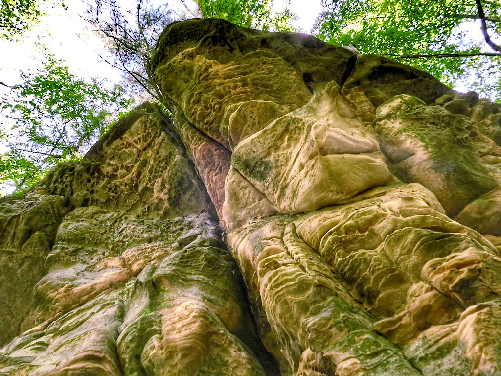 Looking up from the base of a sandstone bluff, with varied textures and colors
