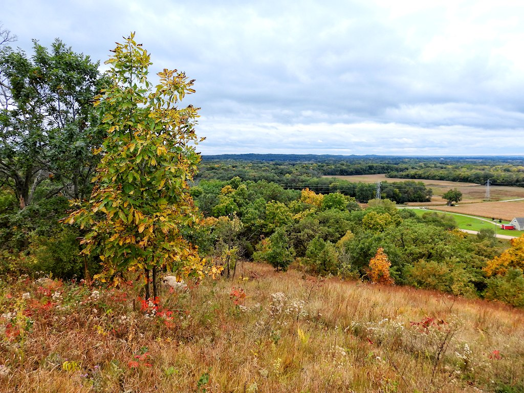 VIew of the countryside with some autumn colors, from the top of a bluff