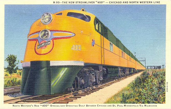 postcard of Chicago & North Western's 400 Streamliners